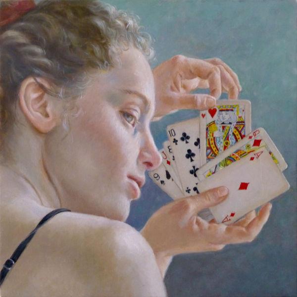 Francine Van Hove - Roi de coeur - huile sur toile - 30 x 30 cm