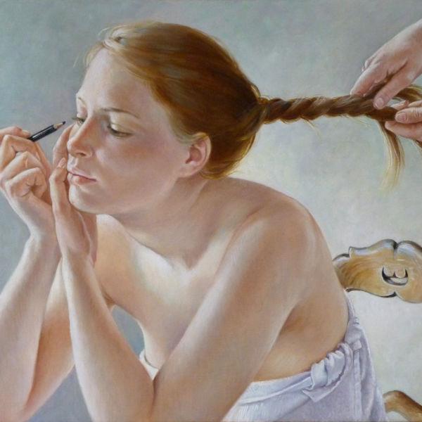 Francine Van Hove - Préparatifs - huile sur toile - 38 x 55 cm