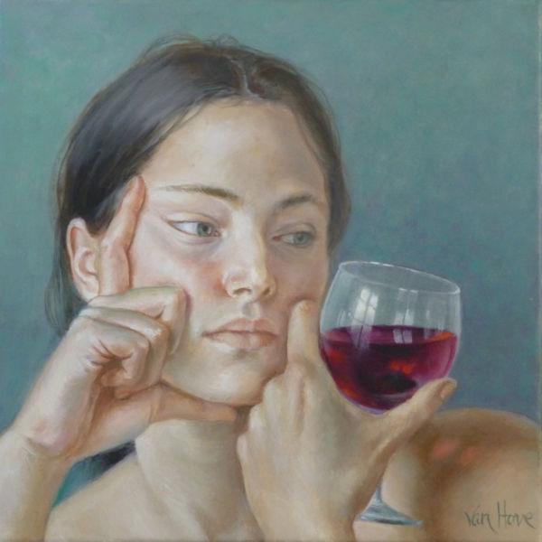 Francine Van Hove - Le reflet sur l'épaule - huile sur toile - 30 x 30 cm
