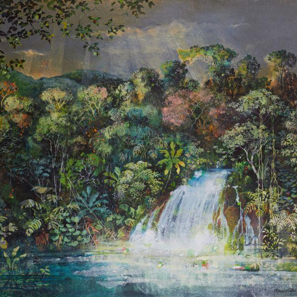 Eric Roux Fontaine - Là où chantent les pierres - Résine, piments, acrylique sur toile - 97 x 130 cm