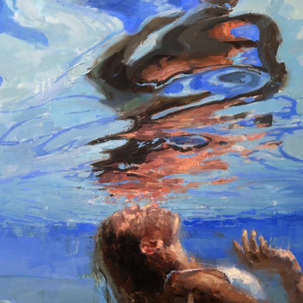 Jacob Dhein – Swimmer – huile sur bois – 77 x 100 cm – 6300 €