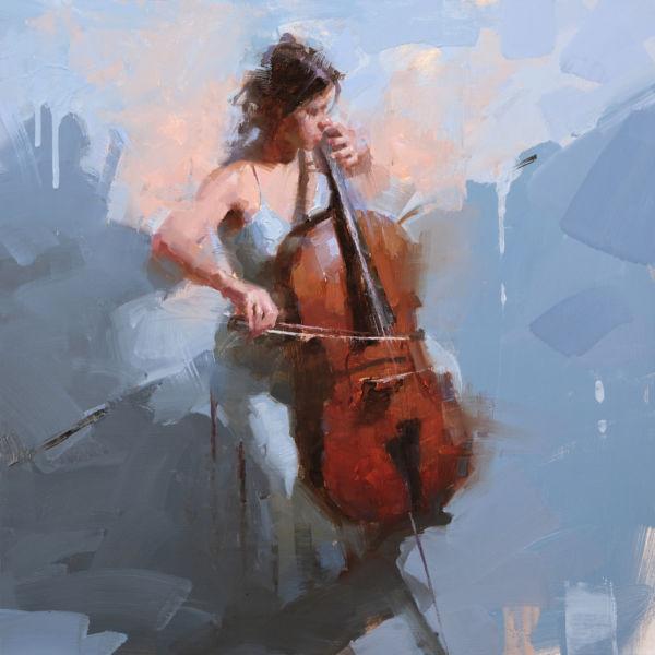 Jacob Dhein - La violoncelliste - huile sur bois - 60 x 60 cm - 4200 €