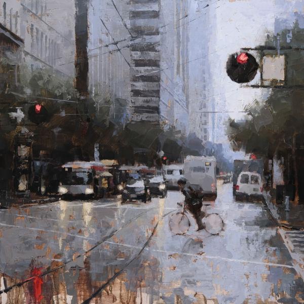 Jacob Dhein - San Francisco Market Street - huile sur bois - 76 x 76 cm - 4900 €
