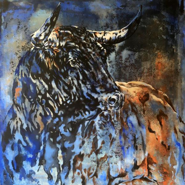 Agnès B Davis - Toro cobalt - acrylique sur toile - 100 x 100 cm