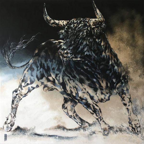 Agnès B Davis - Toro sable - acrylique sur toile - 100 x 100 cm