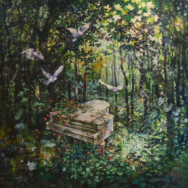 Eric Roux Fontaine - La mélodie oubliée - résine, pigments, acrylique sur toile - 120 x 130 cm
