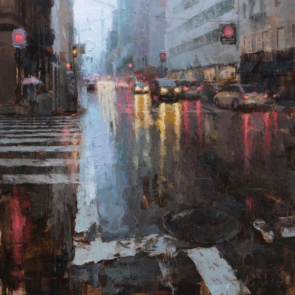 Jacob Dhein - San Francisco rain- huile sur bois - 60 x 60 cm - 4200 €
