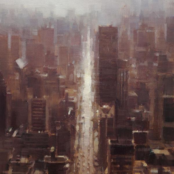Nicolas Martin - Main Street - huile sur toile de lin marouflée sur bois - 30 x 23 cm - 1300 €